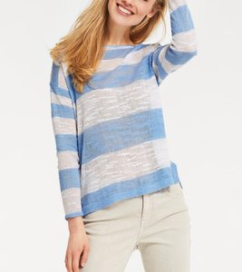 B.C. Best Connections Sweater trendstarker Damen Rundhals-Pullover Blau/Weiß gestreift
