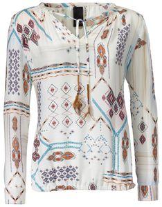 rick cardona Bluse Druck-Tunika gemusterte Damen Ethno-Bluse Große Größen Weiß