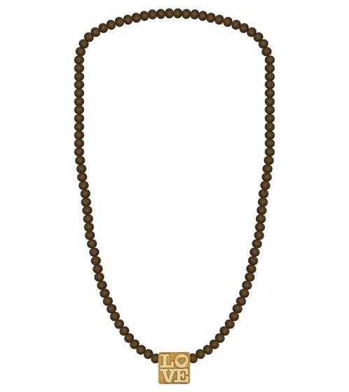 WOOD FELLAS Collier Lime Wood Necklace Collier romantique avec pendentif Love Wood Brown