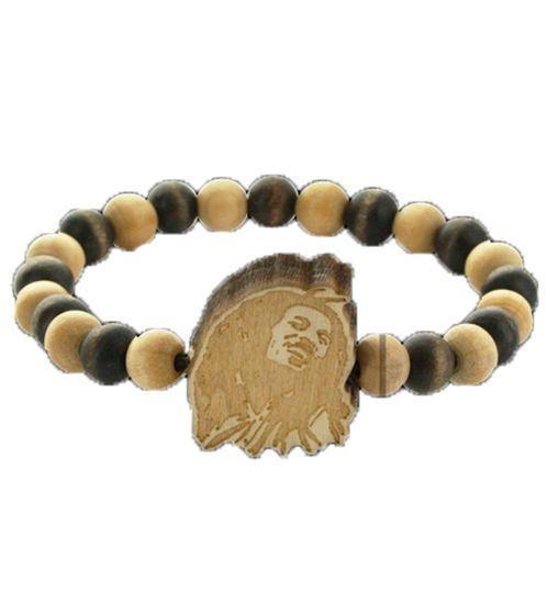 WOOD FELLAS Armband Mode-Schmuck cooles Holz-Armband mit Bob Marley Anhänger Braun