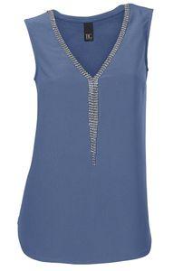 heine Shirt Bluse figurumspielendes Damen Blusen-Shirt mit Strassteinen Blau