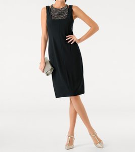 ashley brooke Kleid Cocktail-Kleid edles Damen Etui-Kleid mit Applikationen Schwarz