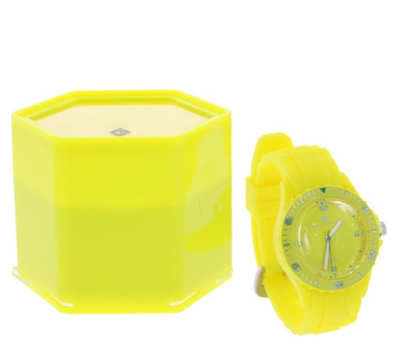 GROOVE TIMEPIECES Watch Waterproof Silicone Bracelet Watch in Gift Set Yellow