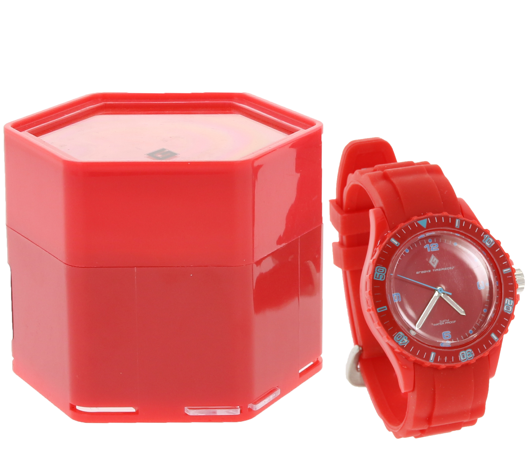 GROOVE TIMEPIECES Gift Set Bracelet Watch Trendy Watch with Pin Buckle Red |