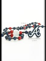 WOOD FELLAS Statement Baseball Holz-Kette Kette lange Perlen-Kette Atlanta Braves Blau/Rot – Bild 2