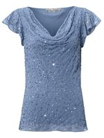 ashley brooke Bluse Pailletten-Bluse angesagte Damen Bluse mit Wasserfallausschnitt Blau