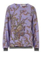 heine Bluse Druck-Bluse pflegeleichte Damen Langarm-Bluse mit Bündchen Violett
