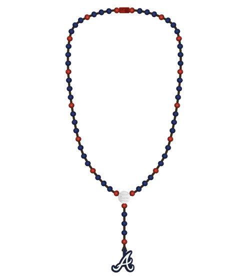 WOOD FELLAS Déclaration Collier avec chaîne longue en bois de baseball Atlanta Braves Blue / Red