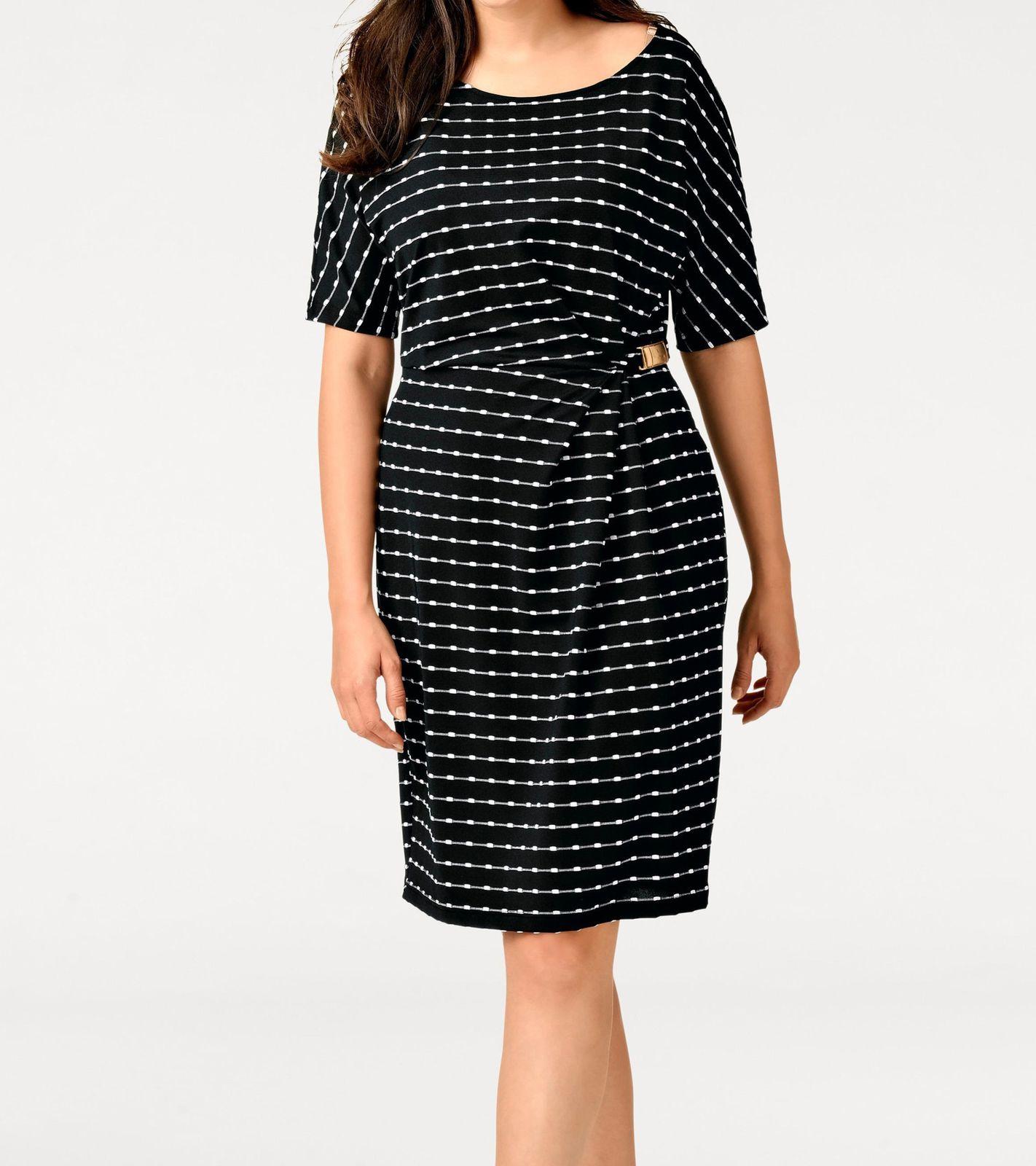 Tamaris Kleid geblümtes Minikleid Große Größen Sommerkleid Schwarz V-Neck Jersey