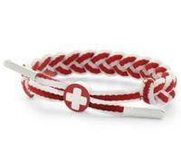 C3 Textil-Armband cooles Armband Schweiz Flagge Rot/Weiß
