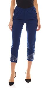 sheego Leggings Stoff-Hose schlichte Damen Stretch-Hose mit Paillettenbesatz Blau