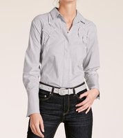 ashley brooke Hemd-Bluse moderne Damen Langarm-Bluse mit Perlen-Stickerei Silbergrau