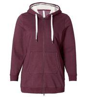 sheego Jacke Sweat-Jacke gemütliche Damen Herbst-Jacke mit Eingriff-Taschen Bordeaux
