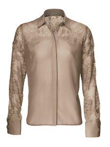ashley brooke Bluse Seiden-Bluse elegante Damen Party-Bluse Braun
