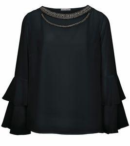 ashley brooke Chiffon-Bluse elegante Damen Volant-Bluse mit Applikationen Schwarz