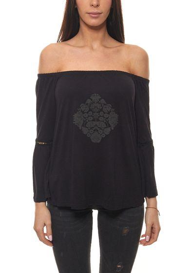 Buffalo Strand-Shirt schönes Damen Carmen-Shirt mit Volant-Ärmeln Schwarz