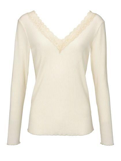 heine Shirt Spitzen-Shirt romantisches Damen Langarm-Shirt mit Rückenausschnitt Weiß