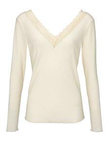 heine Shirt Langarm-Shirt enges Damen Spitzen-Shirt mit Rückenausschnitt Große Größen Weiß