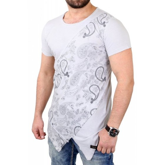 Tazzio Fashion Shirt T-Shirt stylisches Herren Paisley-Shirt im Zipfel-Look Grau