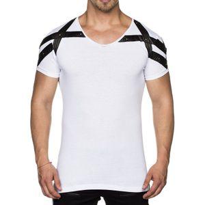 Tazzio by Emimay Shirt V-Neck-Shirt figurbetontes Herren T-Shirt mit Kunstleder-Applikationen Weiß