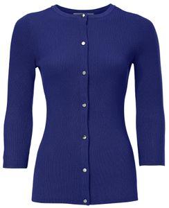 ashley brooke Jacke Strick-Jacke figurbetonte Damen Kurz-Ripp-Jacke mit Knopfleiste Blau