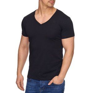 Tazzio Fashion Shirt Kurzarm-Shirt modisches Herren T-Shirt mit V-Neck Schwarz