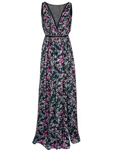 ashley brooke dress evening dress romantic ladies maxi dress with floral print black