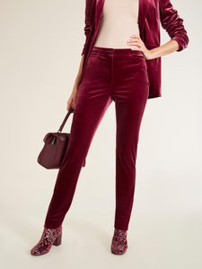 PATRIZIA DINI Hose Ausgeh-Hose modische Damen Samt-Hose im 5-Pocket-Style Große Größen Bordeaux