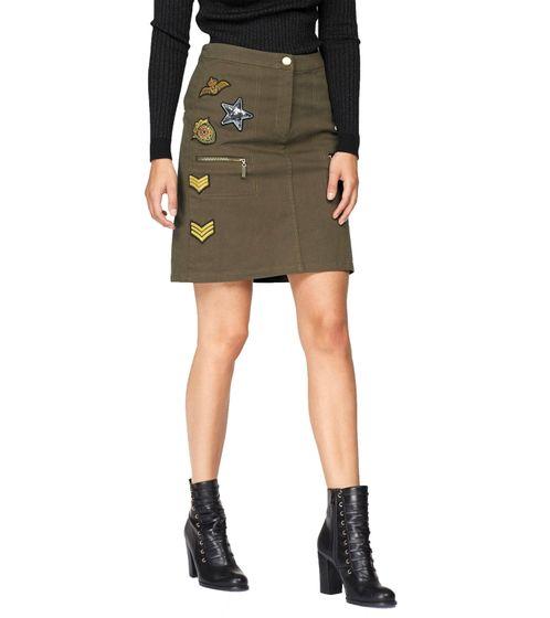 Aniston Twill-Rock cooler Damen Mini-Rock mit Gehschlitz Khaki