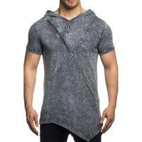Tazzio Fashion Freizeit-Shirt Shirt asymmetrisches Herren Kapuzen T-Shirt Anthracite 001