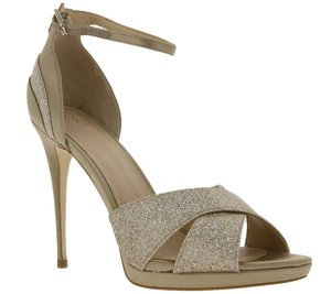 GUESS Plateau-Schuhe glitzernde Damen Pumps in Satin-Optik Beige