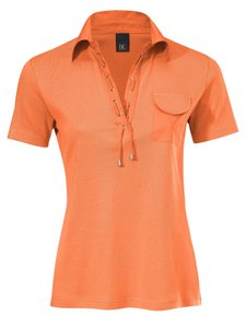 B.C. Best Connections Polo-Shirt T-Shirt knalliges Damen Shirt mit Schnürung Große Größen Orange