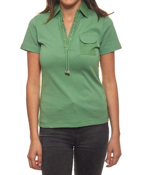 B.C. Best Connections Polo-Shirt T-Shirt sportliches Damen T-Shirt mit Schnürung Grün