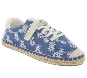 s.Oliver Schnür-Schuhe geblümte Damen Sommer-Schuhe Blau/Weiß