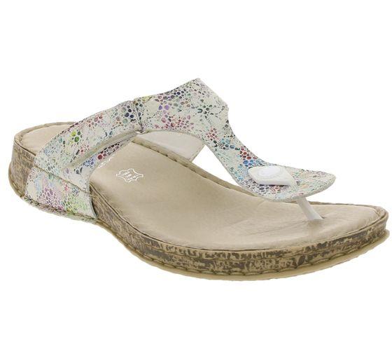 rieker Schuhe Dianette modische Damen Echtleder Zehentrenner Bunt