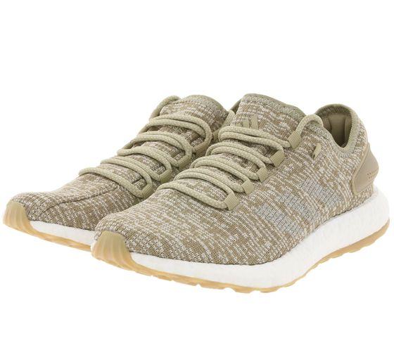 adidas Originals PureBOOST Sport-Schuhe gemusterte Damen Lauf-Schuhe Hellbraun/Weiß