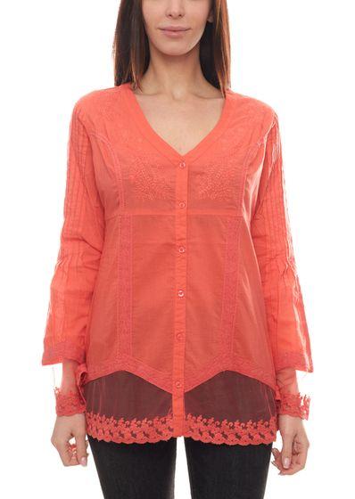 B.C. Best Connections Bluse Langarm-Shirt niedliche Damen Spitzen-Bluse mit Häkelbordüre Koralle