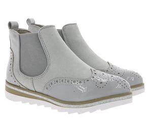 City WALK Schuhe Stiefelette schicke Damen Chelsea-Boots Grau