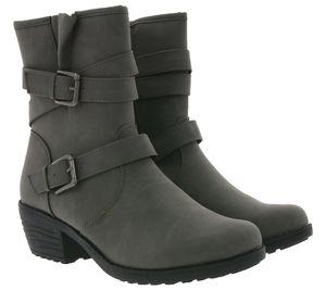 City WALK Schuhe Boots elegante Damen Stiefelette mit Schnallen Grau