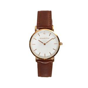 Damen Echtleder-Uhr Braun/Gold