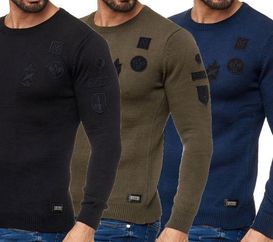RUSTY NEAL Sweater figurbetonte Herren Sweater Rundhals Sweatshirts
