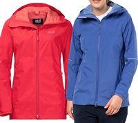 Jack Wolfskin Wetterschutz-Jacke Damen Wander-Jacke Sierra Pass Blau Rot