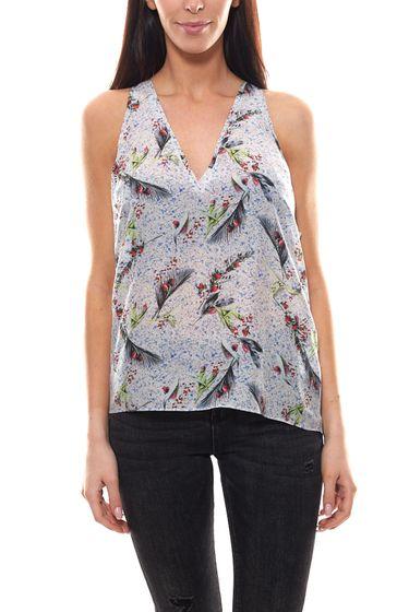 cacharel Sommer-Top luftig-leichtes Tanktop Damen Seiden-Shirt mit weitem Armausschnitt Grau