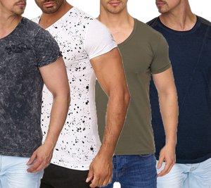 Tazzio Fashion Shirt Basic-Shirts stylische Herren Kurzarm T-Shirts