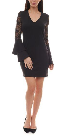 melrose Spitzen-Kleid kurzes Damen Jersey Abend-Kleid mit Volant Spitzen-Ärmeln Schwarz