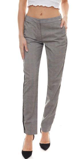 Laura Scott Stoff-Hose karierte Jersey-Hose für Damen mit seitlichen Spitzenstreifen Schwarz/Weiß
