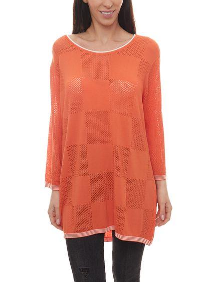 no secret Strick-Pulli moderner Damen Pullover mit Karree-Form vorn Große Größen Orange/Weiß