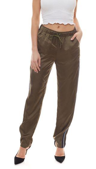 CLAIRE WOMAN Stoff-Hose glänzende Damen Schlupf-Hose mit sportiven Streifen Khaki