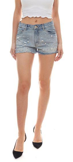 ONLY Divine Jeans-Shorts authentische kurze Hose für Damen mit applizierten Perlen Hellblau