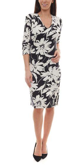 bodyright 3/4 Arm-Kleid florales Damen Jersey-Kleid mit formgebendem Shaping-Unterkleid Schwarz/Weiß